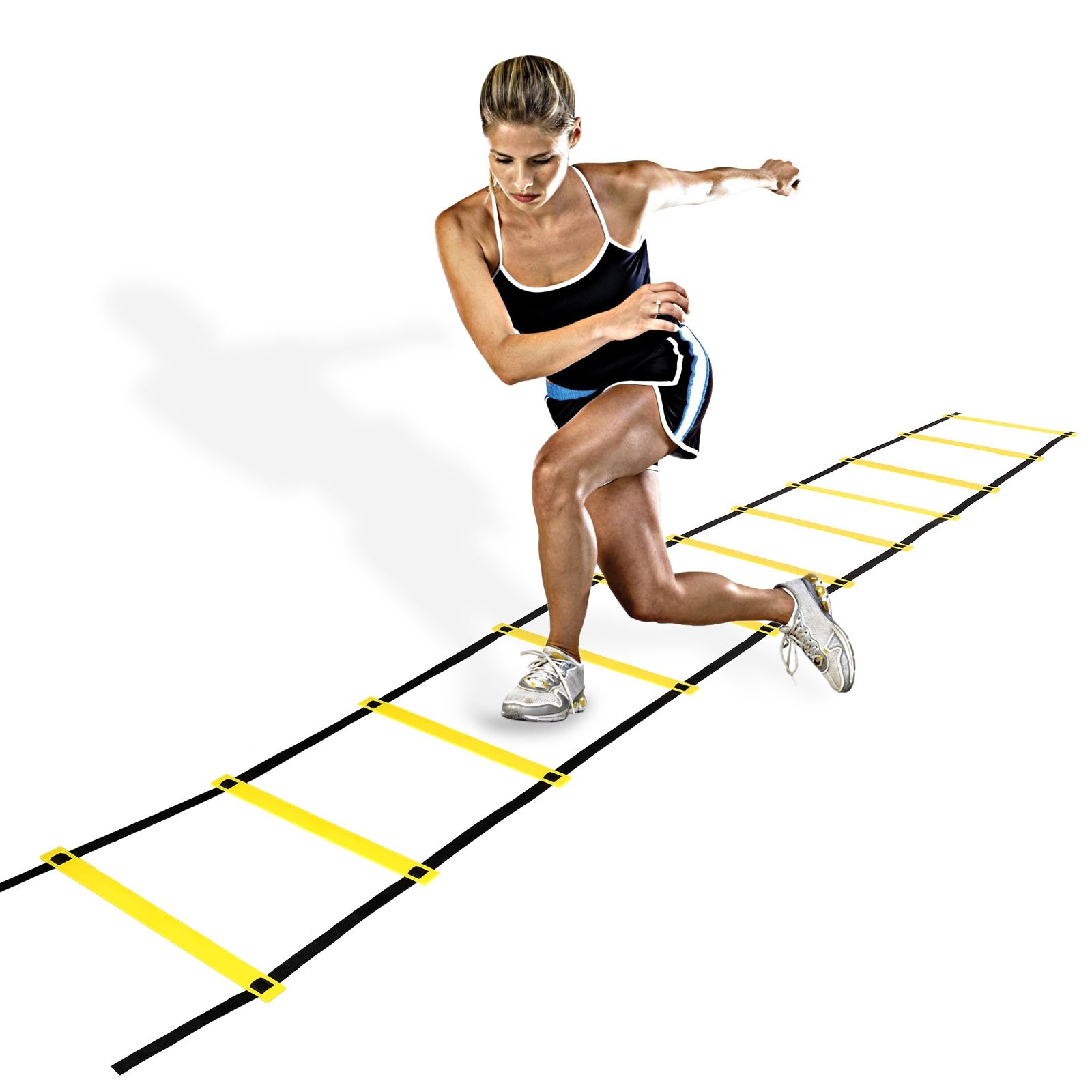 Cosway Adjustable Agility Training Ladder Flat for Rung Speed Soccer Football Fitness Feet Training with Carry Bag