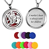 HooAMI Aromatherapy Essential Oil Diffuser Necklace - Stainless Steel Pendant Locket Jewelry,12 Refill Pads