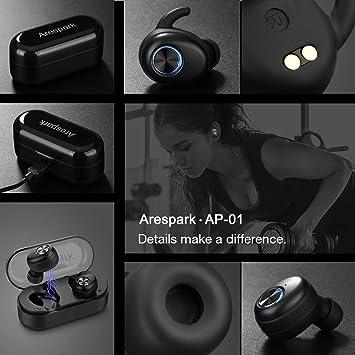 Arespark Écouteurs Bluetooth, AP 01 TWS Truefree 5.0 Oreillette Bluetooth, Sport Hi FI Stéréo sans Fil IPX5 Etanche Casques Bluetooth avec