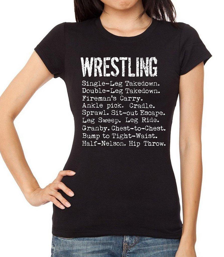 Interstate Apparel Inc Junior's Wrestling Moves Black T-Shirt Large Black