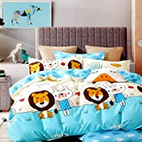 Blenzza Deco® Glace Cotton Cartoon Print Comforter for Double Bed with Attractive Luxury Bag Packing-Sky Blue