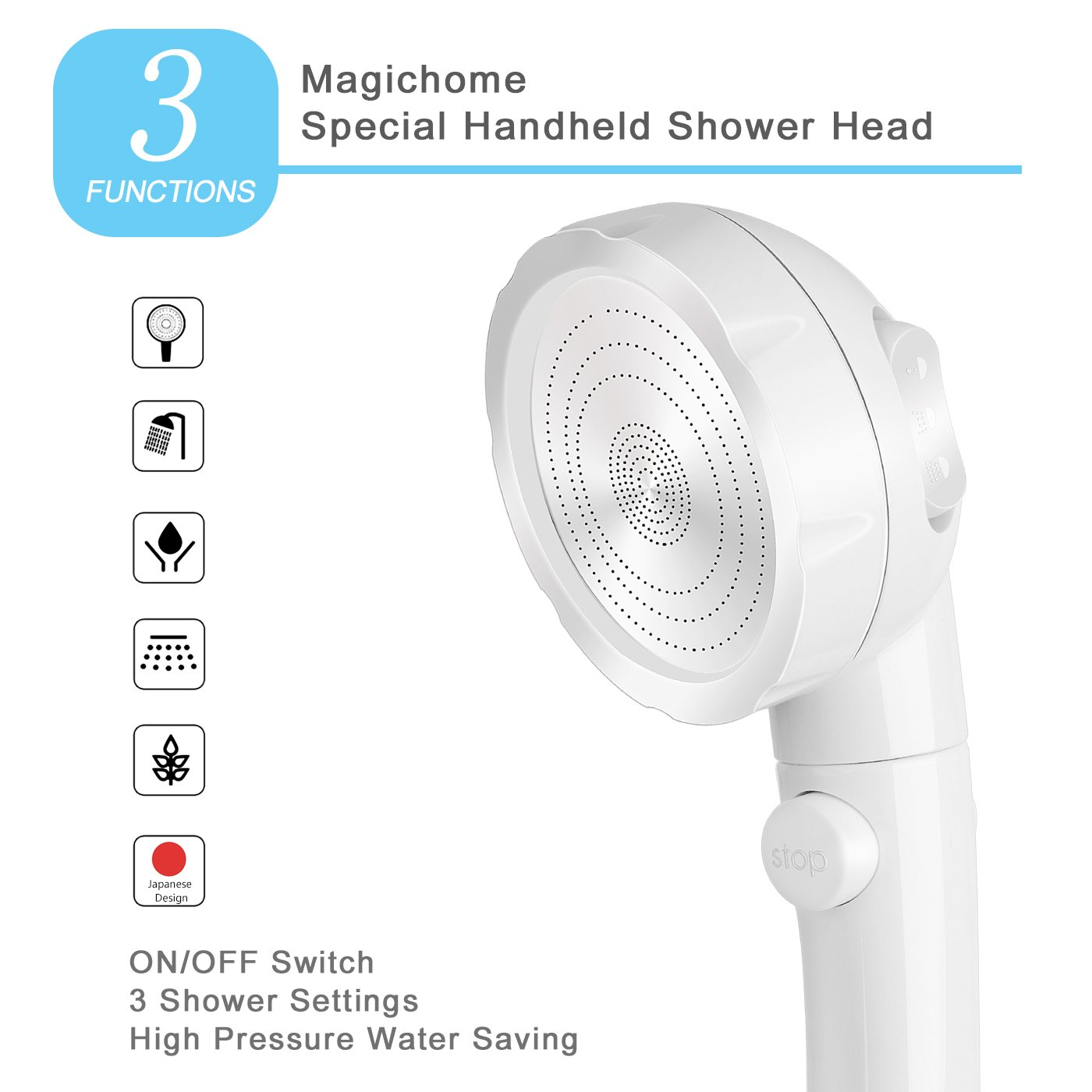 Magichome High Pressure Handheld Water Saving Shower Head with ON ...