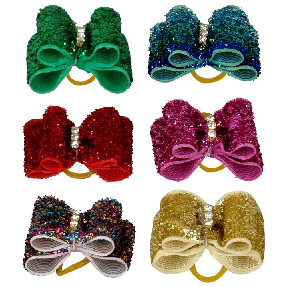 Kuntrona 100PCS Colorful Dog Pet Puppy Shining Rhinestone Hair Bows Pet Grooming Accessories Mixed colors by Kuntrona