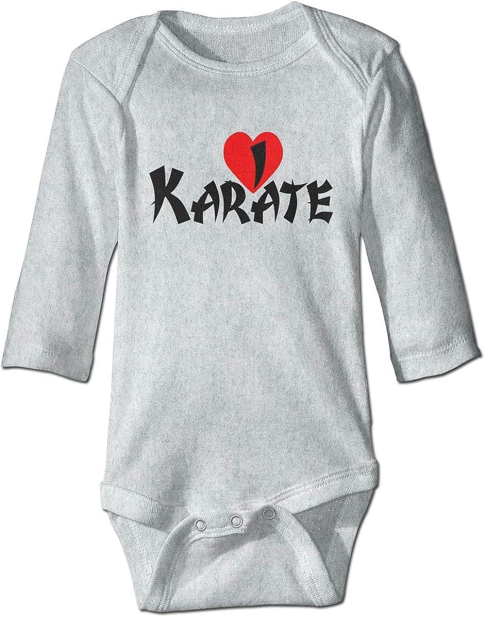 Marsherun Infant Babys Toddler I Love Karate Long-Sleeve Bodysuit Clothes Playsuits