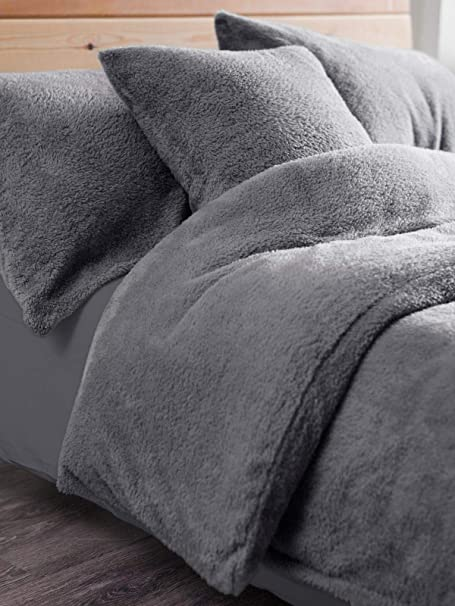 Teddy Fleece Duvet Cover Sets Single Double Super King Size Pillowcases Throws