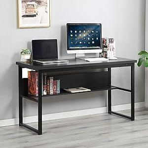 SogesGame Writing Computer Desk Laptop PC Desk,Trestle Desk Writing Study Home Office Desk Workstation with Storage Shelf,LD-JB01BW-S8-US …