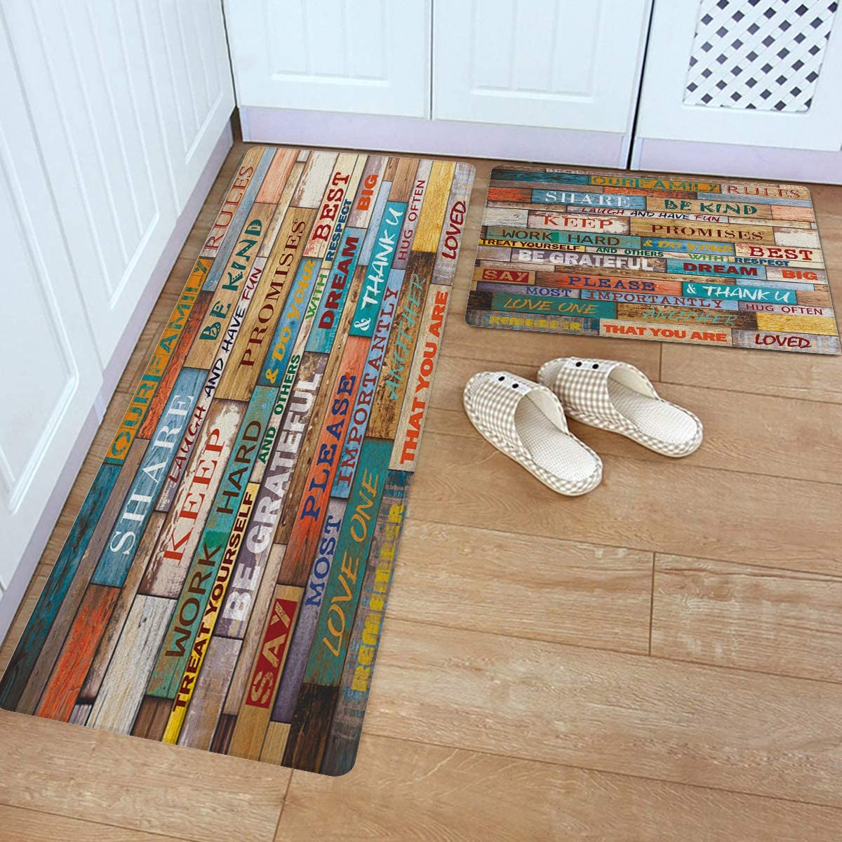 Kitchen Rug and Mats, Family Rules on The Retro Old Wood Grain Kitchen  Floor Mats 9 Piece PVC Leather Standing Mats Non Slip Rubber Back Washable  ...