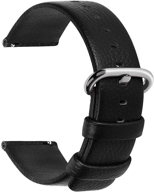 Lederband Kalbsleder 10 mm breit schwarz Uhrenband + 2 Stege Uhrenarmband