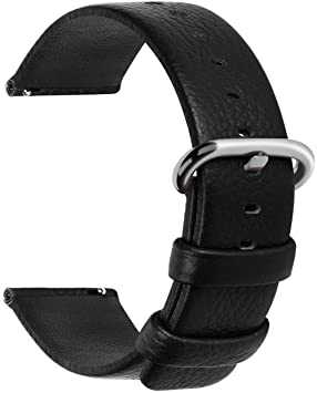 Fullmosa Uli Piel Correa Reloj, 12 Colores para Correa/Banda/Pulsera/Strap Reloj Huawei/Samsung/Recambio/Reemplazo 18mm 20mm 22mm 24mm, Negro 22mm