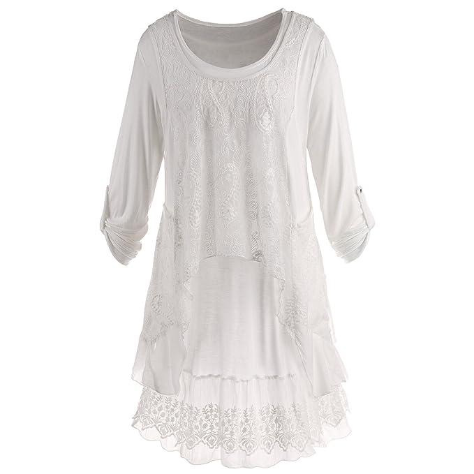 f2b1bcd16ef Women's Wispy White Tunic Set - Long Roll-Tab Sleeves Tunic Top & Lace Tank