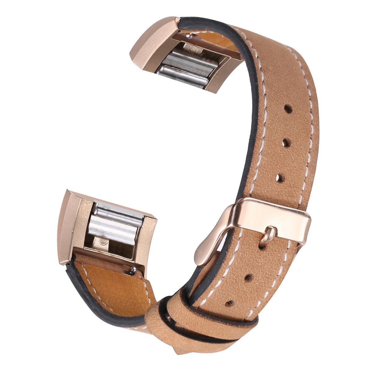 bayite Leather Band for Fitbit Charge 2, Light Brown with line, 5.5'' - 7.1''