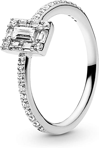 Pandora Jewelry Sparkling Square Halo Cubic Zirconia Ring in Sterling  Silver, Size 9