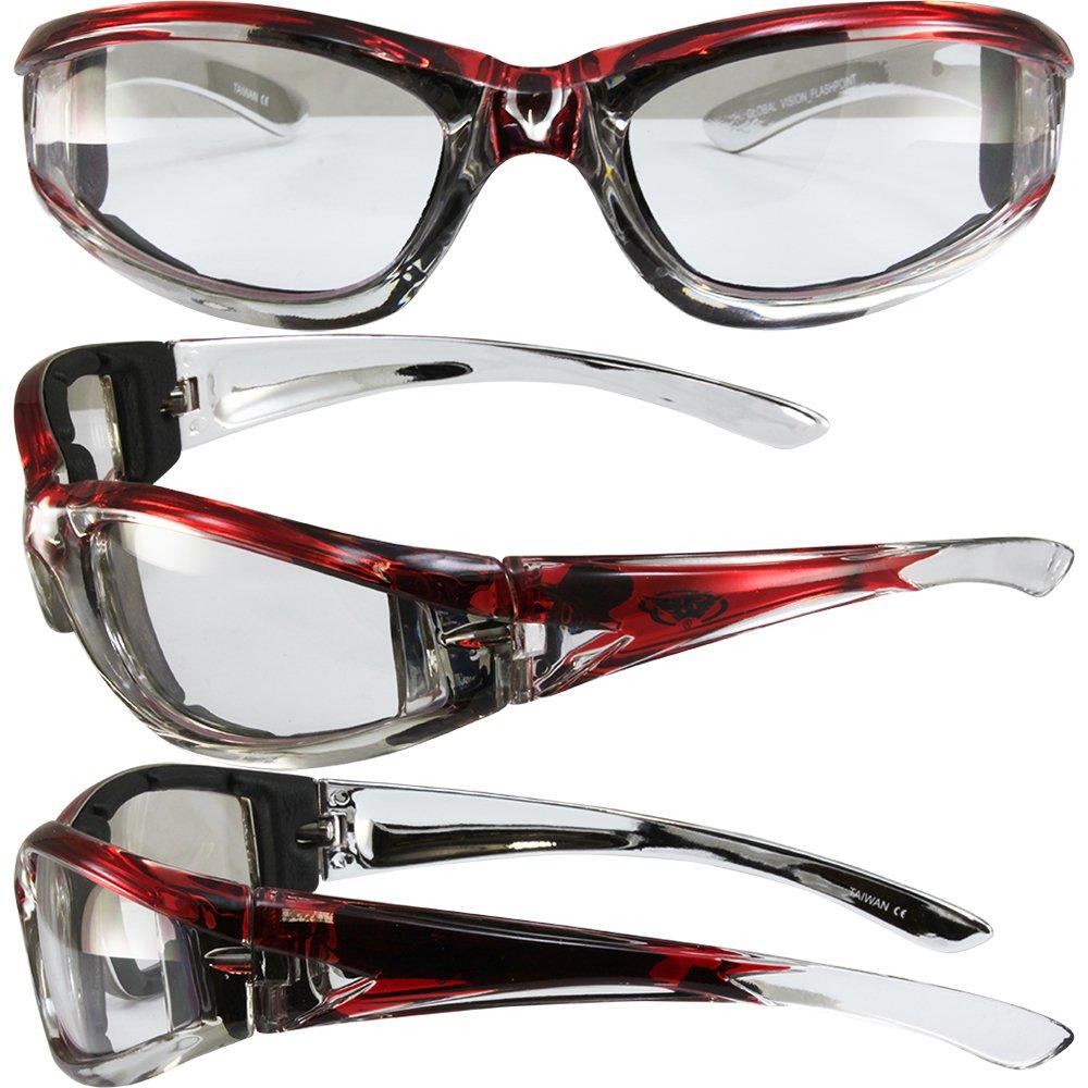 Various Lens O Kickback Translucent Red Frame Foam Padded Motorcycle Sunglasses