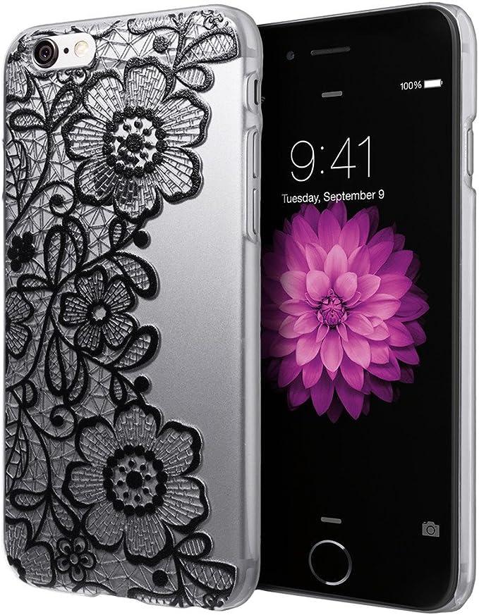 Nero e custodia pizzo floreale plastica rigida Cover per iPhone 6S
