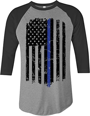 Threadrock Girls Thin Red Blue Line American Flag Fitted T-shirt Gift