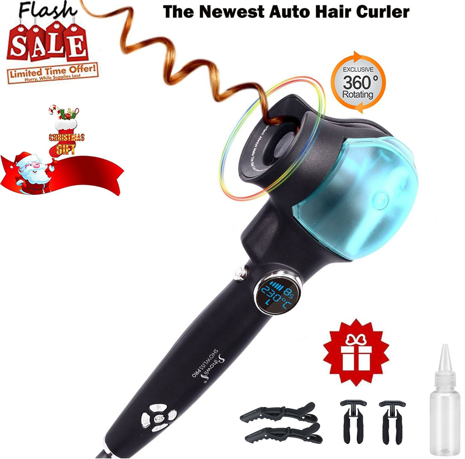 Amazon.com: Automatic Hair Steam Curler | Ceramic Curling Iron Wand Salon | Professional Curl Machine with Auto Rotating Styling Steamer Spray Function And ...