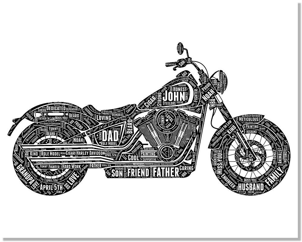 Harley Davidson Personalized Print - Typography Word Art Wordle Wall Art Decor Poster Biker Gift - Harley Davidson Birthday Gifts for Men Women Dad…