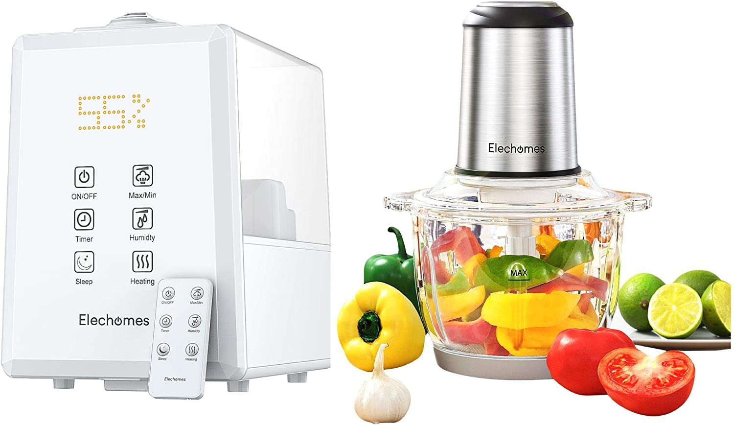 Elechomes White UC5501 6L Warm & Cool Mist Humidifier and Elechomes 8 Cup Electric Food Chopper & Processor Bundle