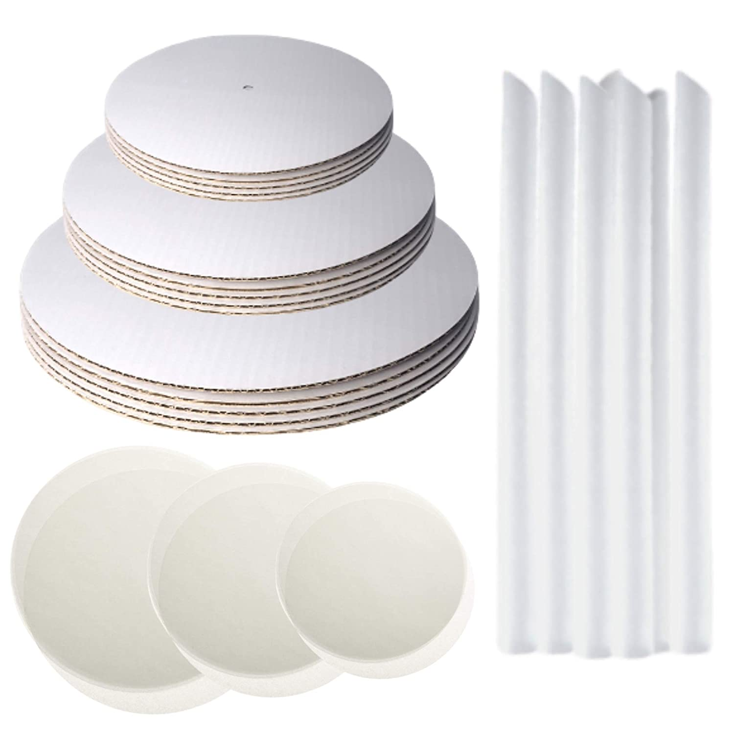 Little Ladle Cake Boards Kit - 10 Inch, 8 Inch, 6 Inch Cake Cardboard Rounds, Parchment Paper Rounds & Boba Straw Cake Dowels - Cake Board Tier Stacking Support - Cake Decorating Supplies - 120 Pcs