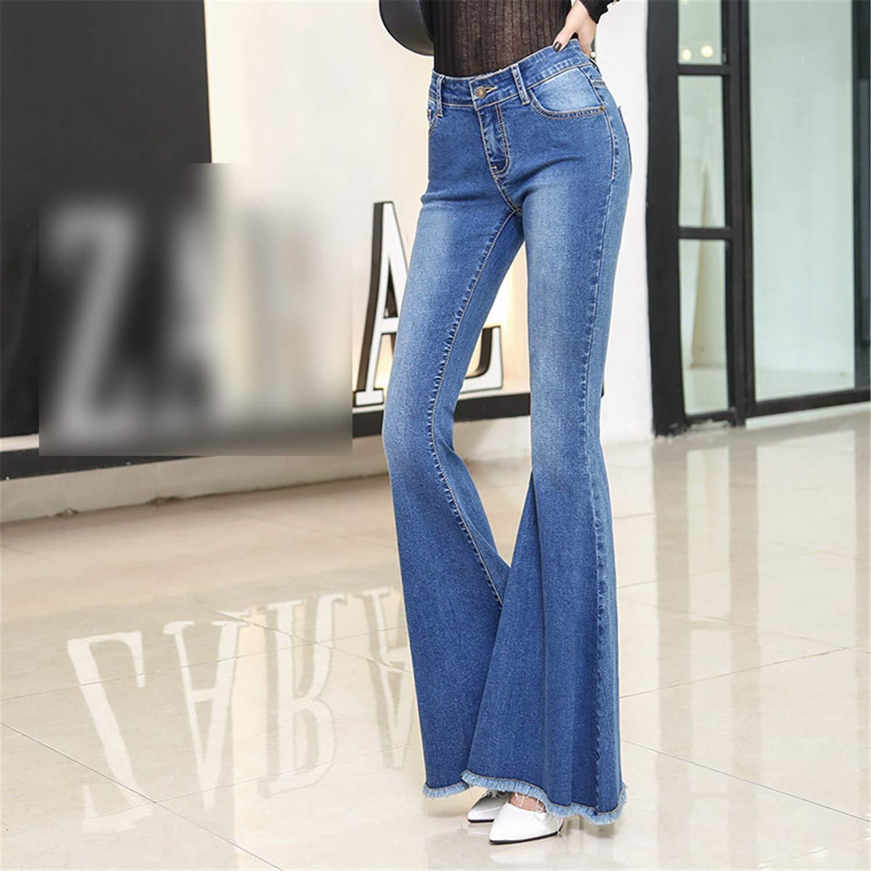 Vintage Ripped Hem Fringe Denim Flare Pants Women Pocket Jeans Summer Girl Stretch Blue Denim Trousers Size S-XL
