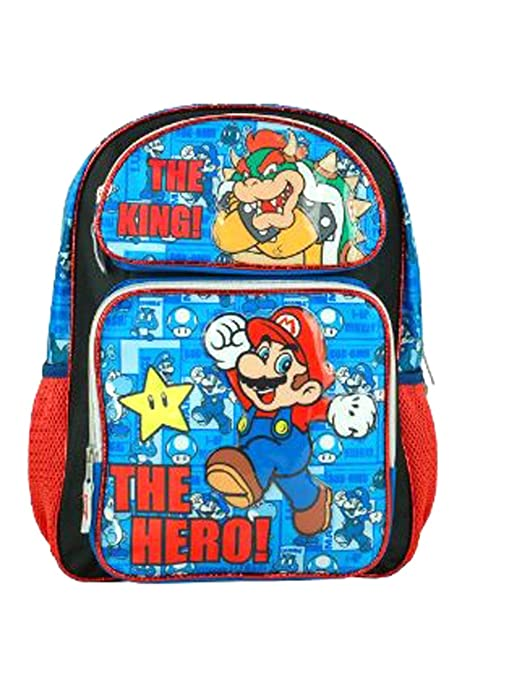 Full Size Black and Blue Super Mario Hero Mochila - Super Mario Brothers Bolso p/