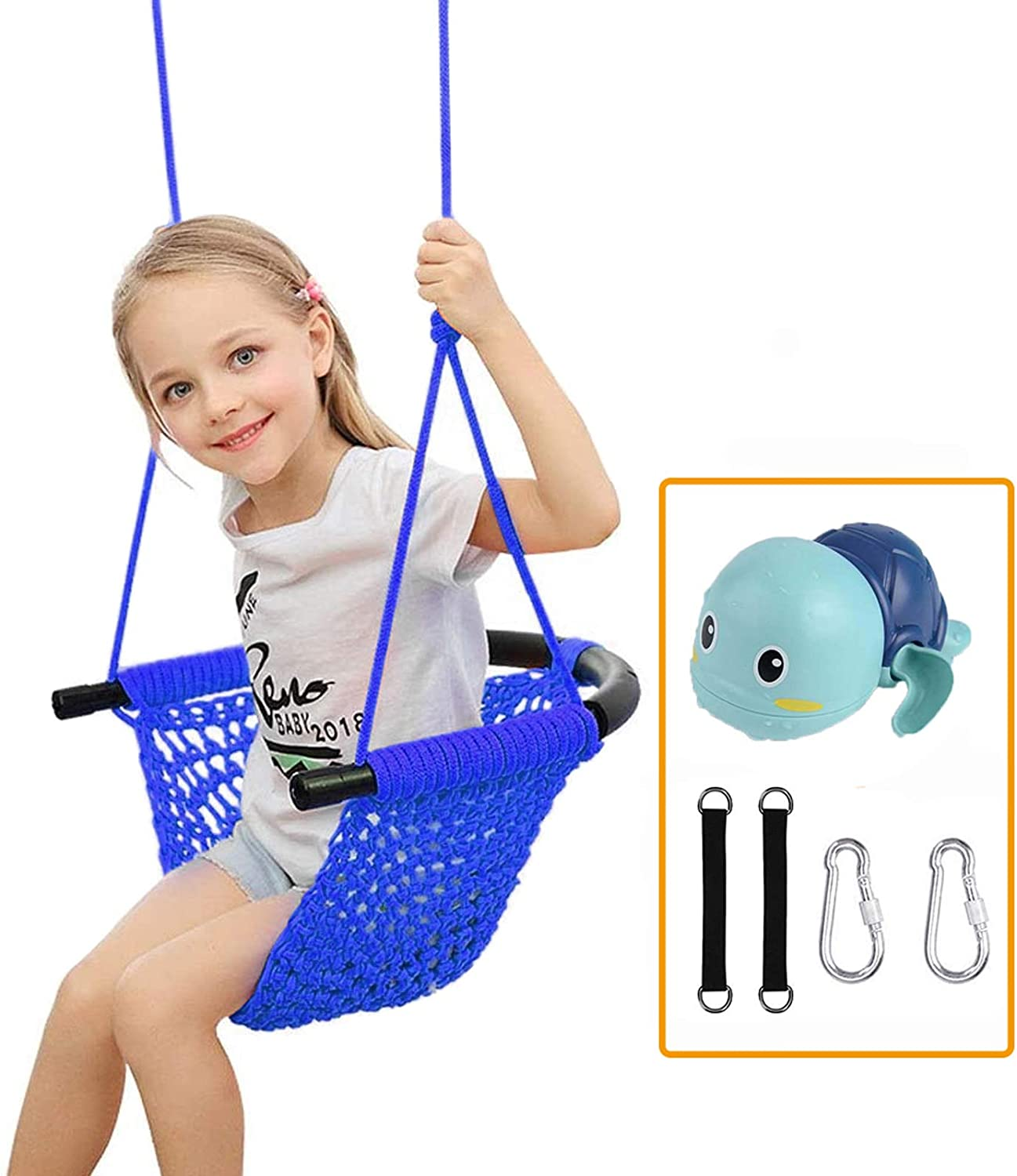 Kids Swing,Swing Seat Tree Heavy Duty Rope Play Secure Children Swing Set for Indoor/Outdoor/Playground/Home/Tree with Snap Hooks and Swing Straps,Suit for 2 to 12 Years (Blue)