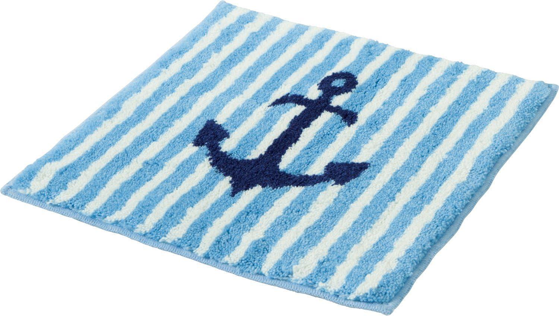 Erwin M/üller WC-Umrandung f/ür Fu/ßbodenheizung geeignet WC-Matte mit Ausschnitt maritim hellblau Gr/ö/ße 50x50 cm rutschhemmend flauschig weicher Flor