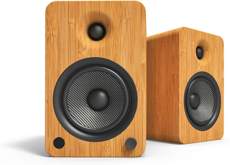 Kanto YU6 Powered Bookshelf Speakers with Bluetooth and Phono Preamp, Bamboo