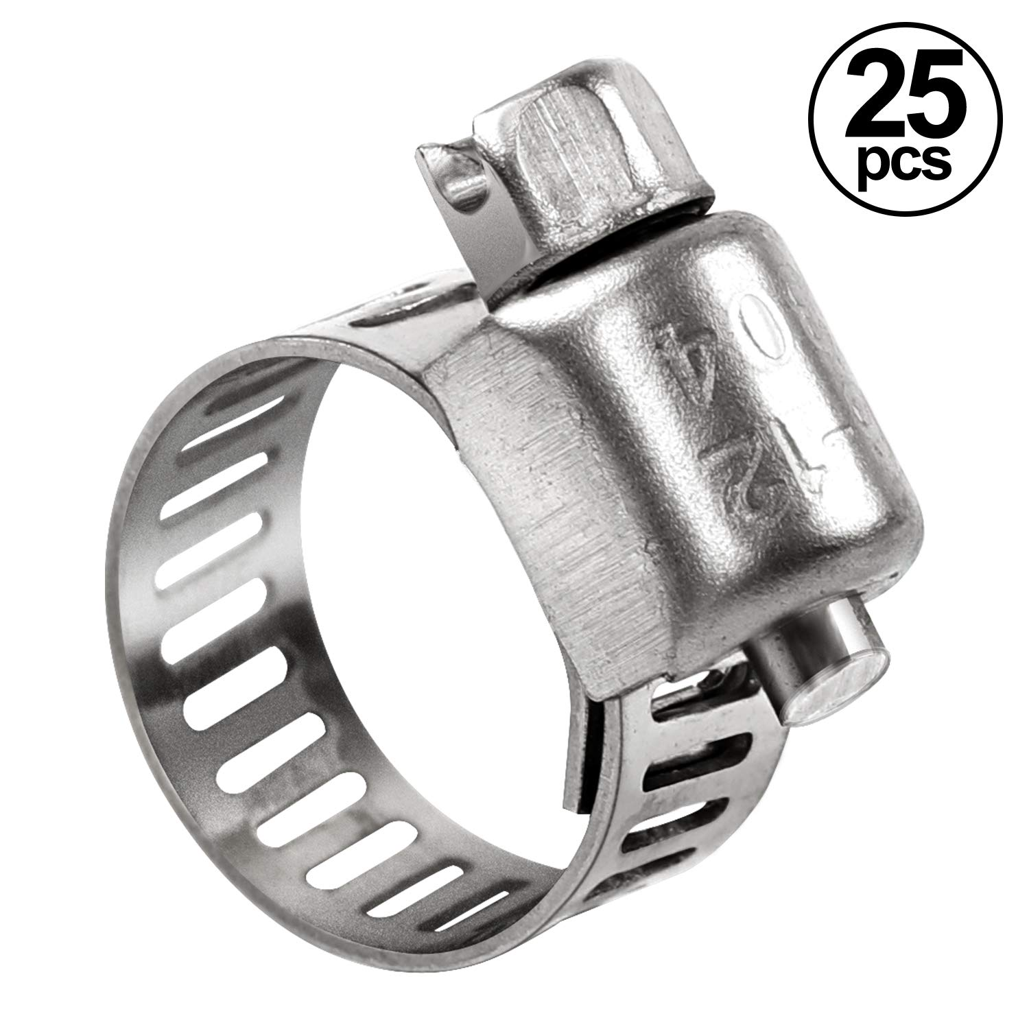 HongWay Hose Clamp, 25 Packs Adjustable 6-12mm (1/4-7/16 inch) Size Range, 304 Stainless Steel Worm Gear Hose Clamp, Suitable for 3/8in Plumbing, Automotive and Mechanical Application