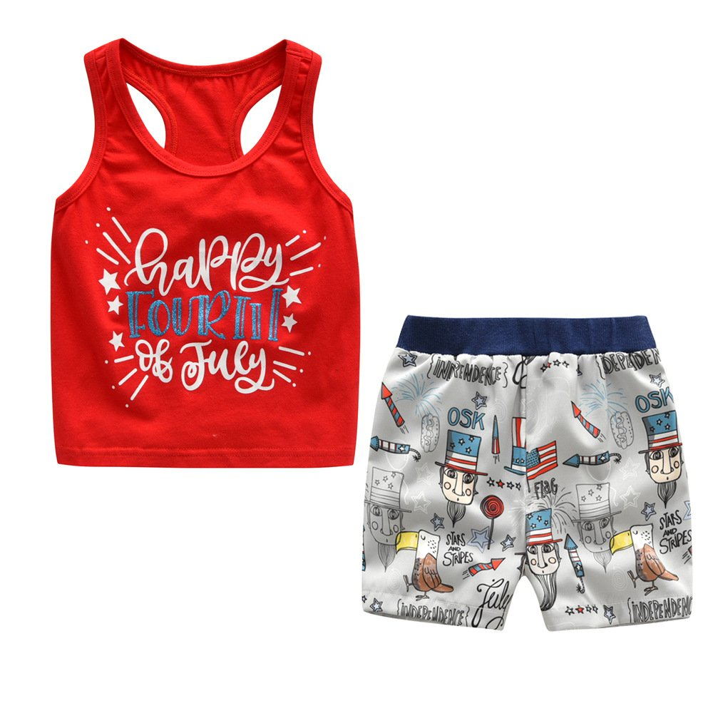 ALLAIBB July 4th Little Boys Shorts Sets Vest American Flag Patterns Size 100 (red)