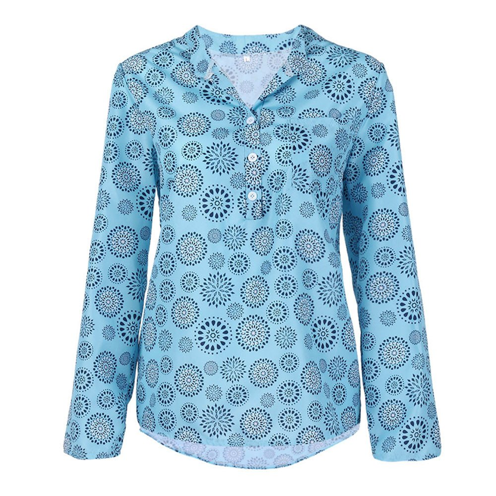SMALLE◕‿◕◕‿◕ ◕‿◕ Clearance, Women Plus Size Print Long Sleeve Polka Dot Button Blouse Pullover Tops Shirt at Amazon Womens Clothing store: