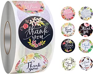 Thank You Stickers,8 Flower Designs,500PCS 1.5