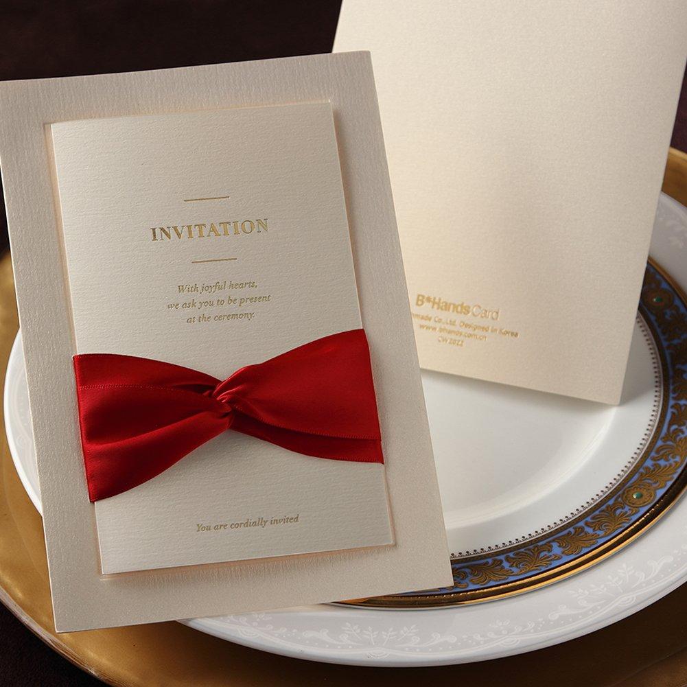 Amazon.com: 12X Wishmade Printable White Invitation with Red Ribbon ...