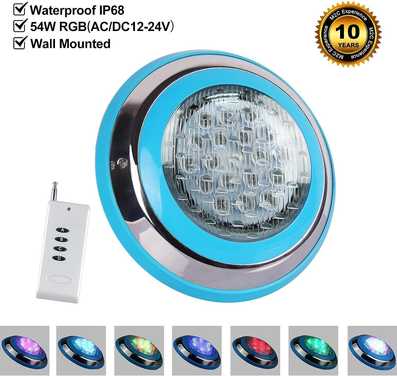 Roleadro 54W Luz de Piscina con Control Remoto,IP68 Sumergible Led para Piscinas Multicolor Luz RGB Wall Mounted [AC/DC 12-24V]