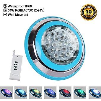 Roleadro 54W Luz de Piscina con Control Remoto,IP68 Sumergible Led para Piscinas Multicolor Luz
