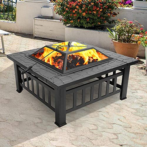 Henf 32 inch Fire Pit Outdoor Wood Burning Pit Square Metal Fire Bowl with Mesh Screen Lid Great for Patio,Backyard,Garden