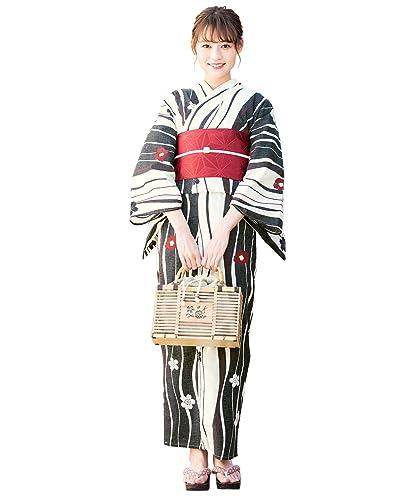 (ソウビエン)浴衣セットレディースレトロ黒系ブラッククリームよろけ縞椿ツバキ小花綿女性花火大会半幅帯赤