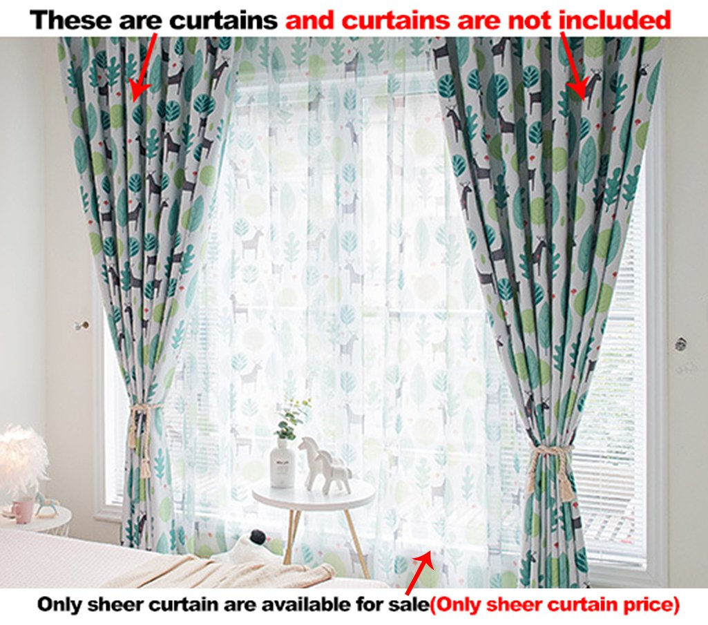 Aside Bside Sheer Curtains Trees Animals Printed Rod Pocket Top Nature Style Breathable Window Decoration For Sitting Room Houseroom and Kitchen (1 Panel, W 52 x L 95 inch, Green)