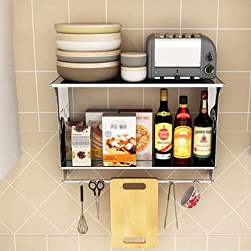 Küchenregale  Amazon.de: ZXLDP Küchenregale Organizer Wandmontage Doppelte Ebenen ...