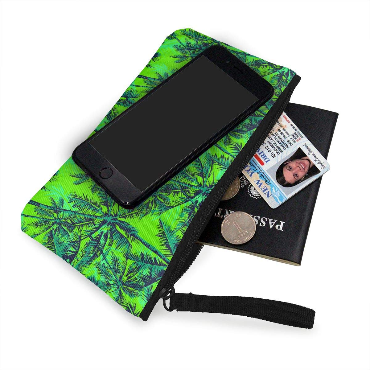 Womens Vintage Coin Purse Palm Trees Pattern Canvas Card Wallet With Zipper For Women
