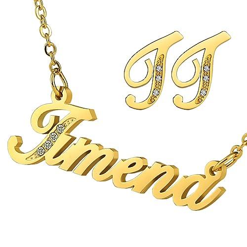 Beydodo para mujer pendientes inicial J CZ nombre collar ...