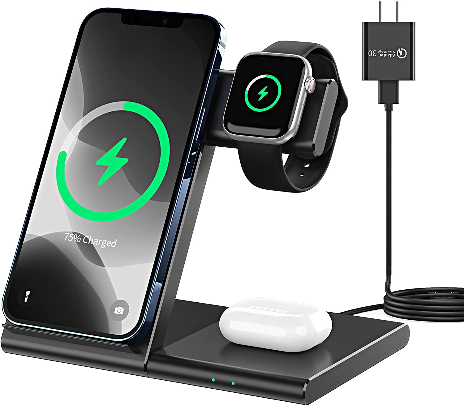 Apetiy 3 in 1 Wireless Charging Station for Apple Watch Series Se 6 5 4 3 2 AirPods Pro 2 Qi Fast Charger Stand for iPhone 12 Pro Max 11 XR XS X 8 Plus Charging Stand Dock Wireless Charger for Samsung