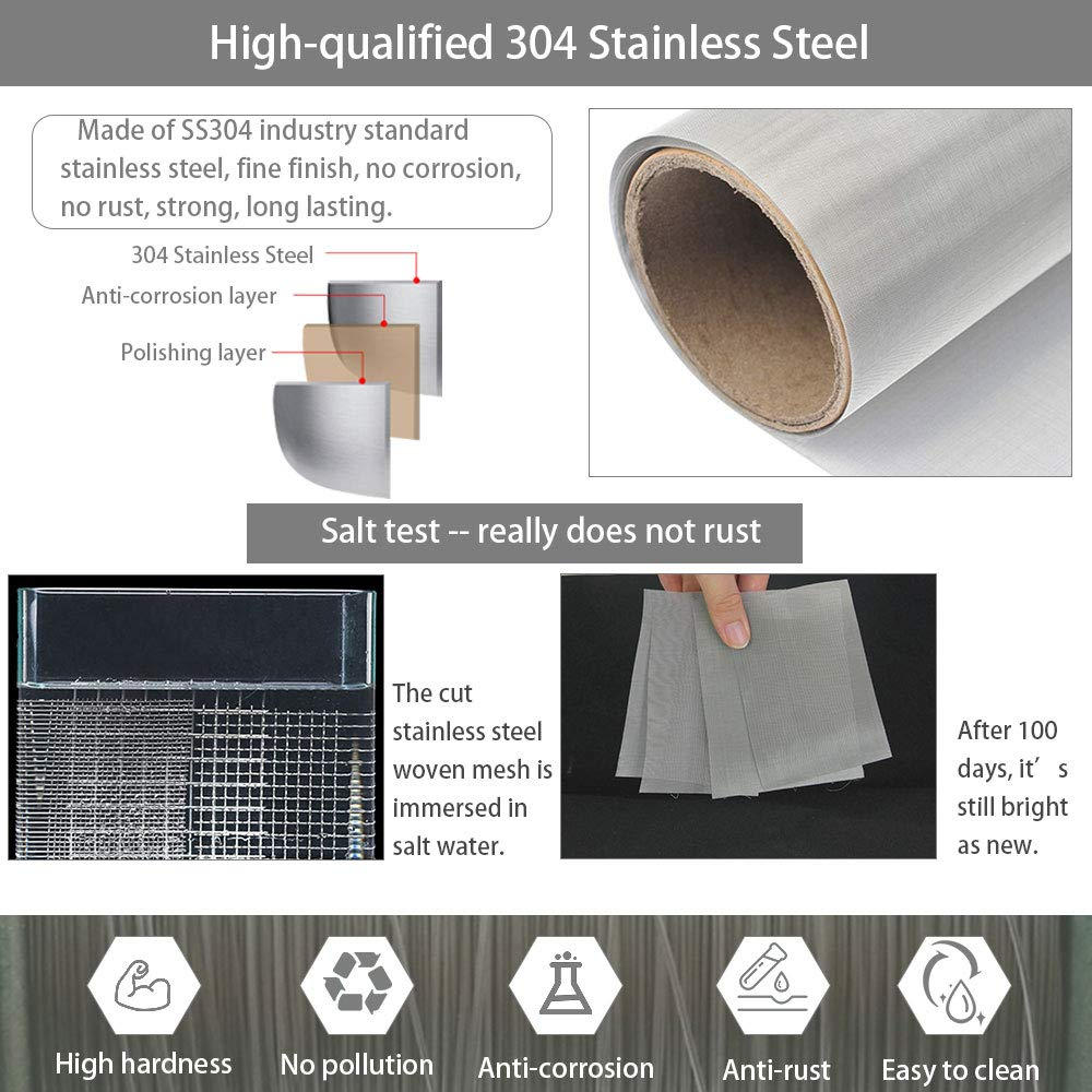 Dust Removal and Separation EMAGEREN 304 Stainless Steel Woven Wire 120 Mesh Metal Mesh Screen 30 X100CM Filter Screen Sheet Filtration Cloth Fine Wire Mesh Woven Wire for Filtration