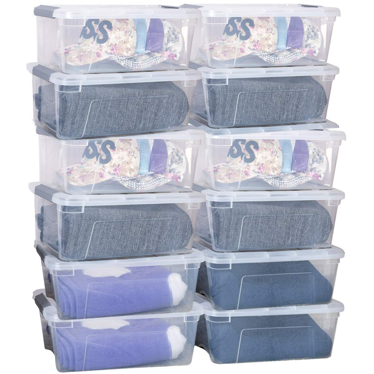 Giantex 12 Pack Storage Box Storage Tote Boxes W/Clear Lid 13 Quart / 12 Liter Each Liter Latch Stack Tubs Bins w/Clear Lid Latches Handles