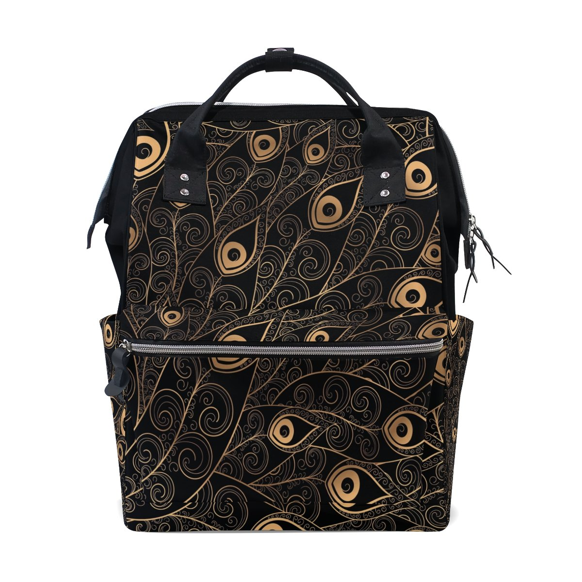 WOZO Gold Black Feather Multi-function Diaper Bags Backpack Travel Bag by WOZO