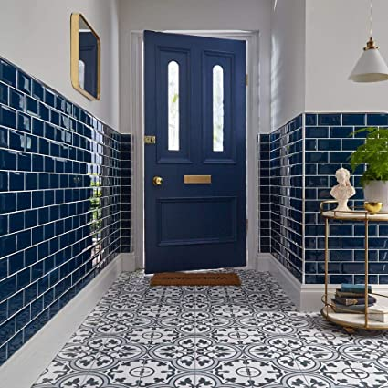 5751927eaa38 Ledbury Encaustic Patterned Marina Blue Ceramic Wall