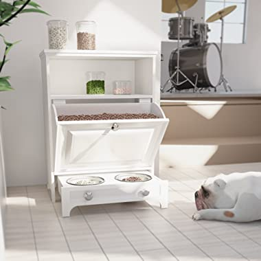 roomfitters White Pet Feeding Station with Double Pull Out Dog Bowl, Pet Food Cabinet, Pet Toy Storage Organizer