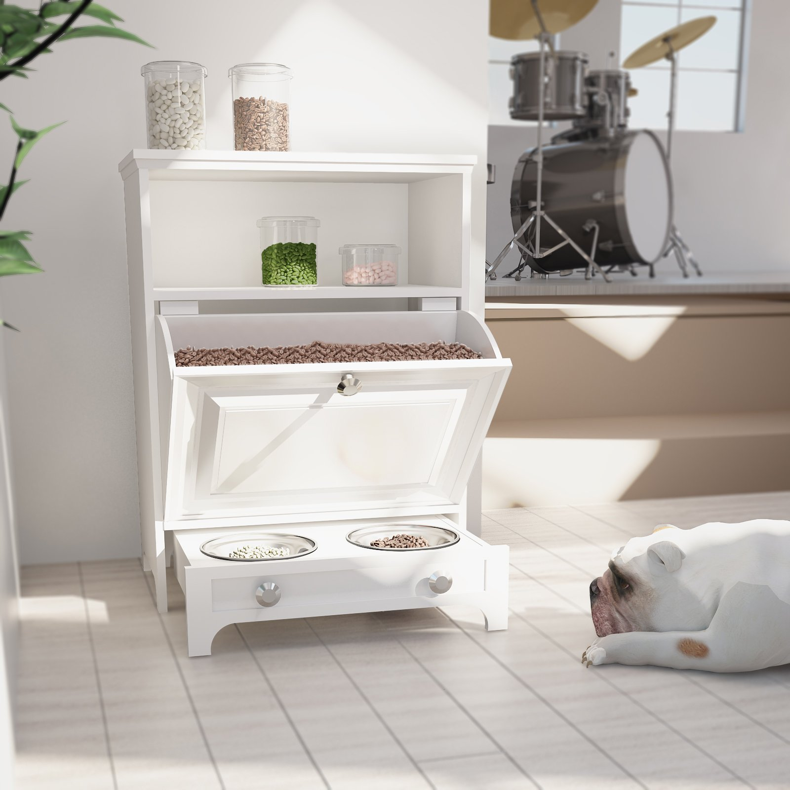 Roomfitters White Pet Feeder Station with Double Pull Out Dog Bowl,Pet Food Cabinet,Pet Toy Storage Organizer