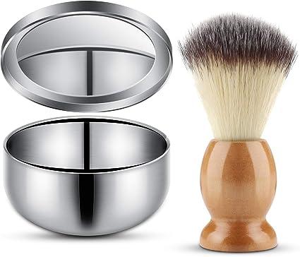 Brocha y tazón de espuma de afeitar, kit de crema de afeitar de ...