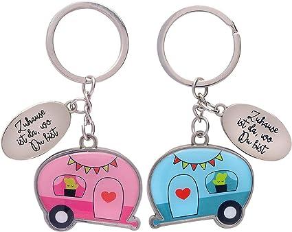 Gruss Co 46754 Paar Schlüsselanhänger Wohnwagen Spruch Zuhause Anhänger Rosa Blau 8 Cm X 5 Cm Küche Haushalt